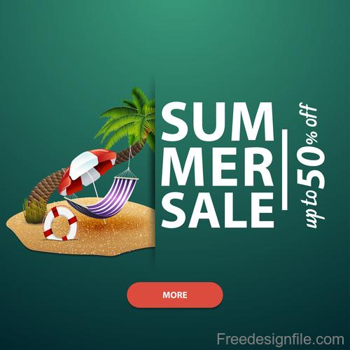 Summer discount sale website template vector 01