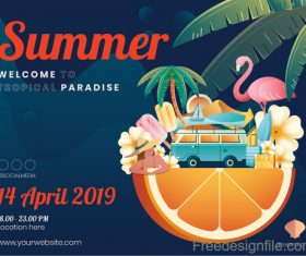 Summer graphic content template vector