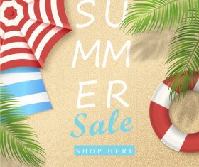 Summer holiday sale background with beach vector