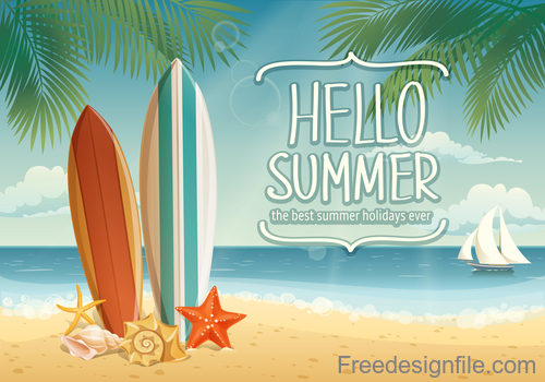 Summer holiday travel with tropical beach vector 01