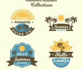 Summer labels vintage design vector