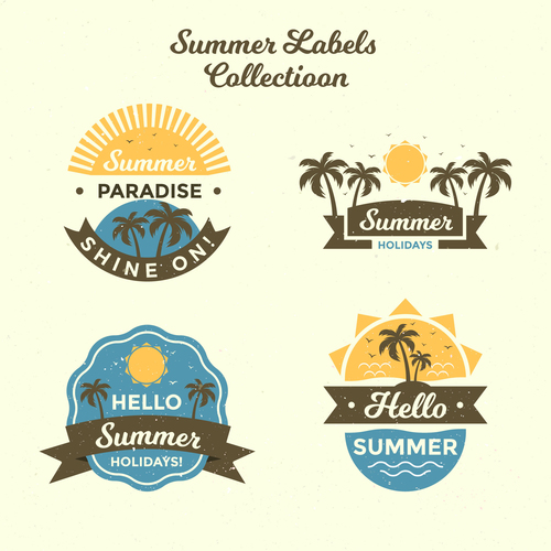 Summer labels vintage design vector