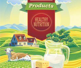 Summer landscape and milk stilllife vector