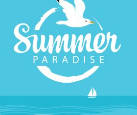 Summer paradise with sea bird vector design 01