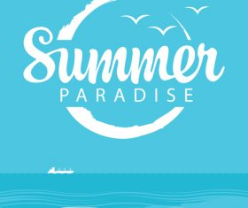 Summer paradise with sea bird vector design 02