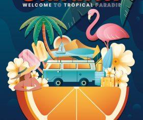 Summer poster template design vector