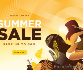 Summer sale background with girl vector material 02