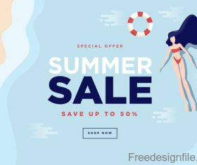 Summer sale background with girl vector material 04