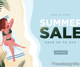 Summer sale background with girl vector material 05