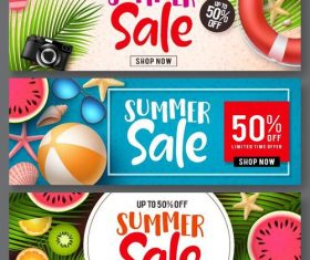 Summer sale banners template vectors