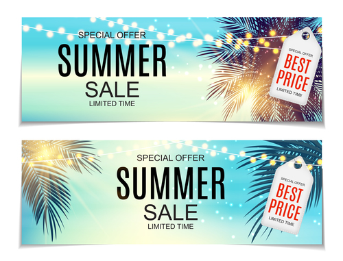 Summer sale banners with tags vector