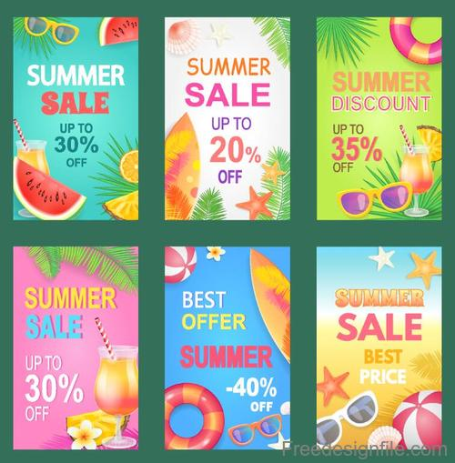Summer sale discount flyer design vector