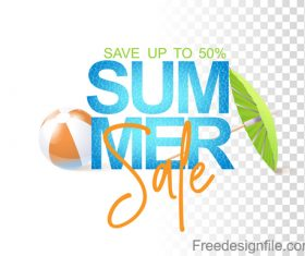 Summer sale logo with umbrella vector
