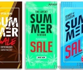 Summer sale vertical banners template vectors