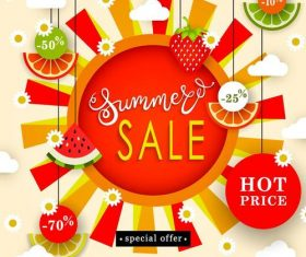 Summer sale with discount poster template vector 01