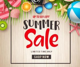 Summer sale with discount poster template vector 03