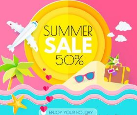 Summer sale with discount poster template vector 04