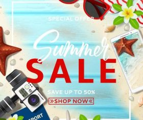 Summer sale with discount poster template vector 05