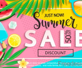 Summer sales and discounts vector design