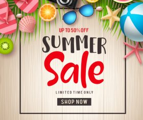 Summer sales and discounts vector wood background