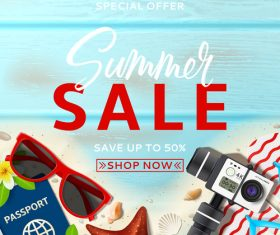Summer sales and shop now poster design vector