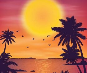 Summer seashore sunset landscape vector design 01