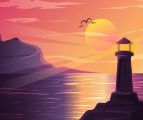Summer seashore sunset landscape vector design 02