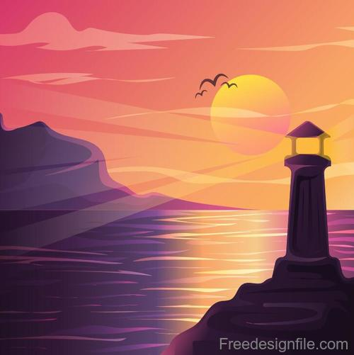 Summer seashore sunset landscape vector design 02