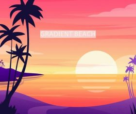 Summer seashore sunset landscape vector design 03