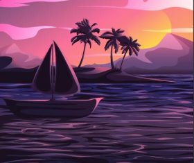 Summer seashore sunset landscape vector design 04