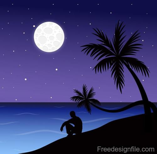 Summer seashore sunset landscape vector design 05