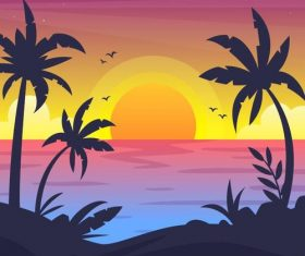 Summer seashore sunset landscape vector design 06