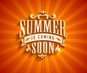 Summer soon in coming logo design vector