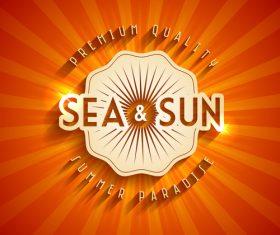 Summer sun with sea logo design vector 01