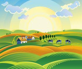 Summer village landscape vector