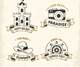 Summer with holiday labels vintage design vector