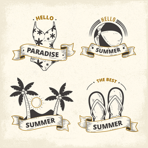 Summer with paradise labels vintage design vector