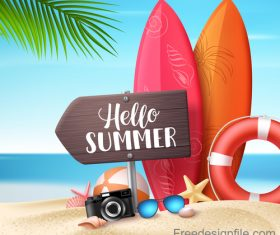 Summer wood sign with beach and surf board vector