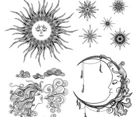 Sun and moon with stars vintage decorative design vector