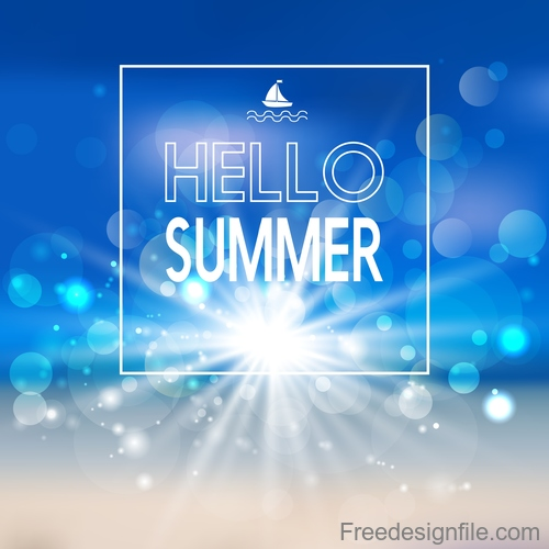Sunlight with sea summer background vectors 02