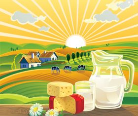 Sunset landscape with milk food vector