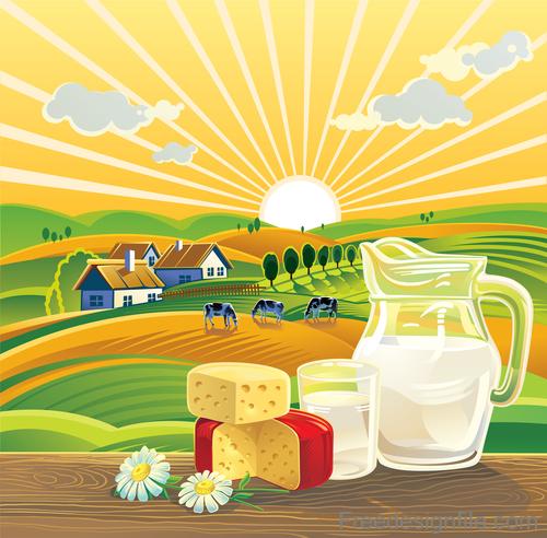 Sunset landscape with milk food vector