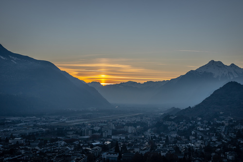 Swiss Alpssunset landscape Stock Photo