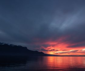 Switzerland lake geneva sunset Stock Photo