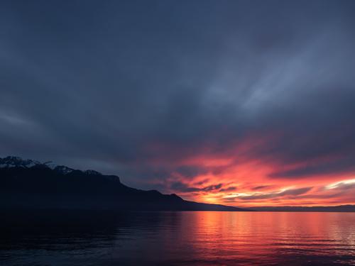 Switzerland lake geneva sunset Stock Photo