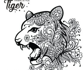 Tiger head tribal style Hand drawn vector