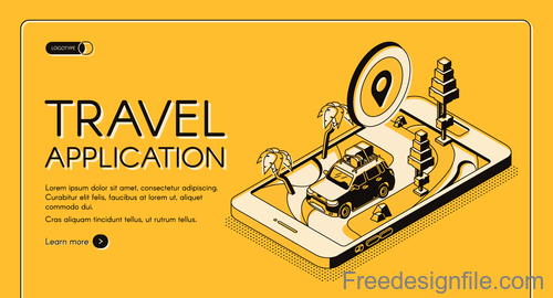 Travel application isometric template design vector
