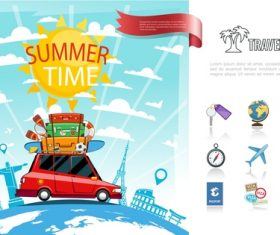 Travel around world design with travel icons vector