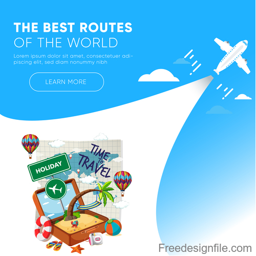 Travel best routes of the world design vectors 04