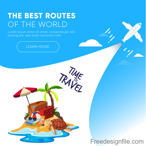 Travel best routes of the world design vectors 05